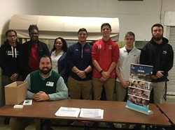 Lineup of Coughlin students recently accepted to LCCC. Some of the students accepted at L.C.C.C's instant decision are from left to right Mialya Austin,Tyler Bonadie, Raquel Tolbert, Corey Harrison, Matt Zalaffi, Eric Sovan and Ed Hannigan-Adm. Counselor