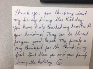 Thank you letter received from a grateful family
