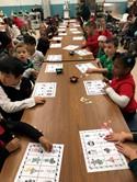 kindergarten students play bingo
