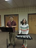 Band Students left to Right: Jacob Patterson, clarinet; Jenna Vincenti, Bells. Ms. Carol Rensa is Band Director