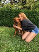 Olivia Pizzella and her dog, Rajah