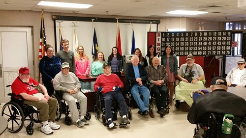 Picture of Students with veterans at VA Medical Center