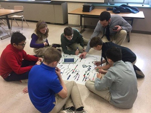 Students working with Robots