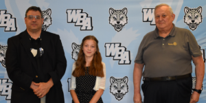 Pictured are from left to right are Mr. Tony Khalife, principal, Sara Katsock, recipient and Mr. Paul Muczynsk, Rotary Representative.