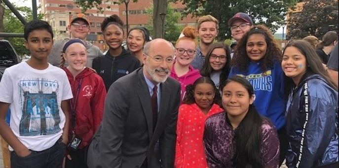 Gov. Wolf with STEM Students