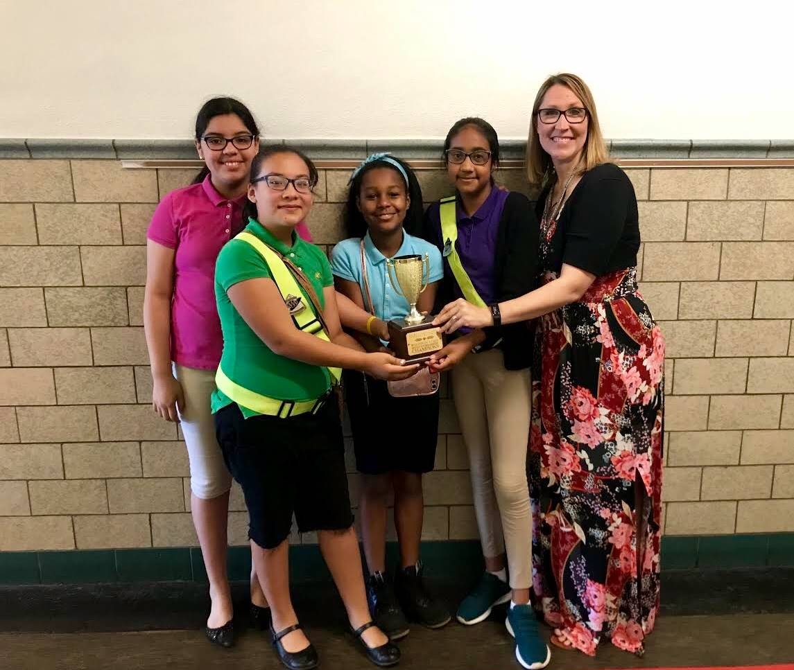 Dodson Elementary 2018 Math Tournament Champions - Pictured left to right - Adriana, Jimena, Nevaeha
