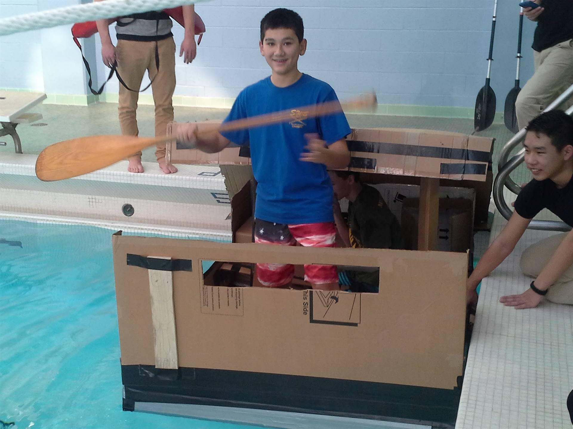 Stem students Cardboard Boat Testing
