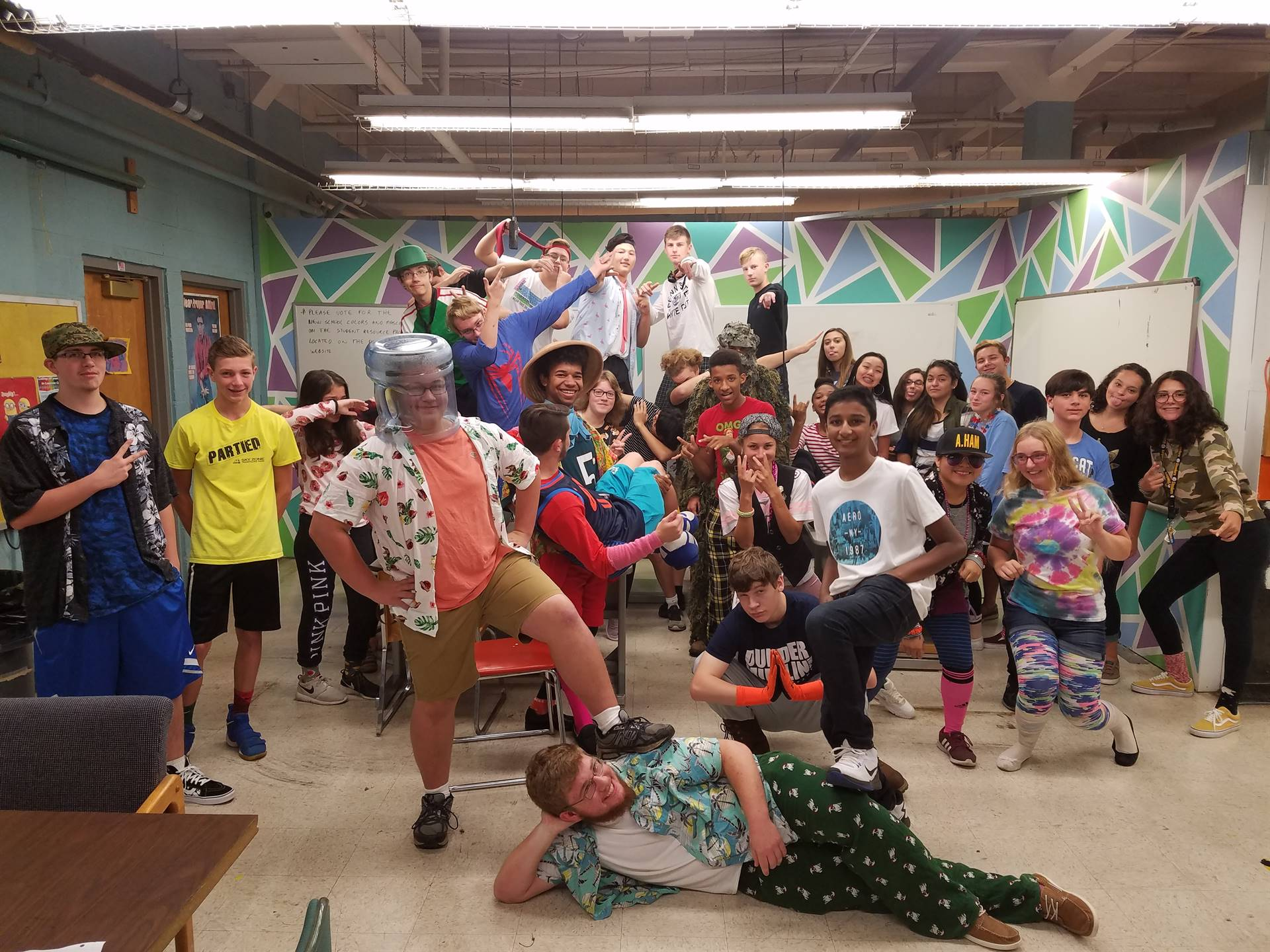 STEM students showing their school spirit on Wacky Wednesday