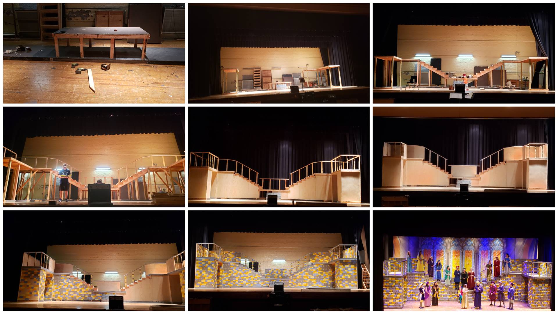 Once Upon a Mattress Set Construction Progression