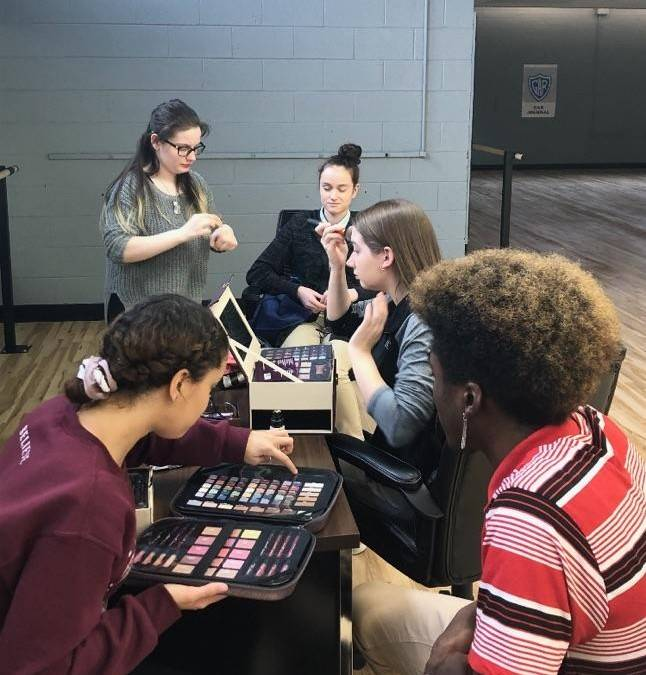 CAPAA Dance Students Applying Make-up for Showcase