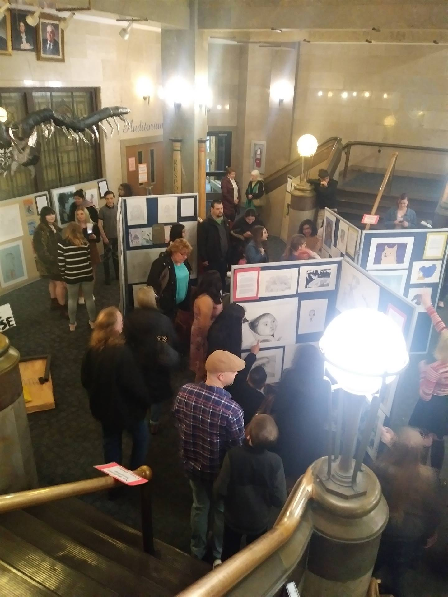 Students and guests enjoying the Artists Gallery at the 1st semester CAPAA showcase.