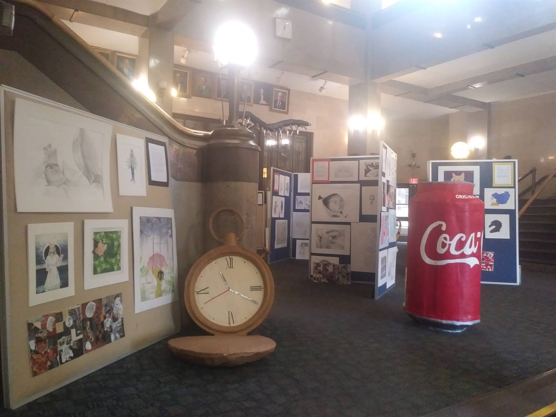 Student Artist Gallery display from the 1st semester CAPAA showcase.