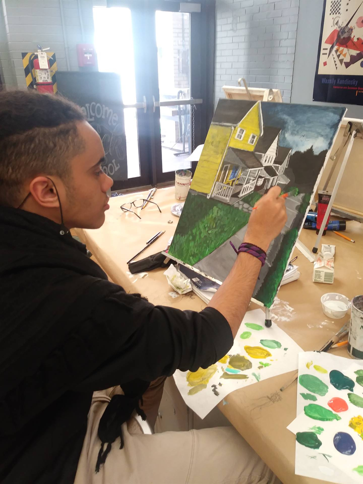 Visual Art students are working on canvas acrylic paintings inspired by the works of  American artis